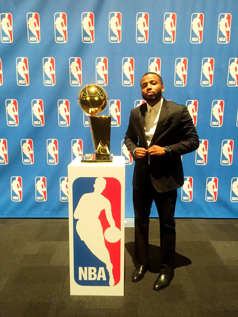 DJ Bandcamp with the Larry O'Brien Championship Trophy