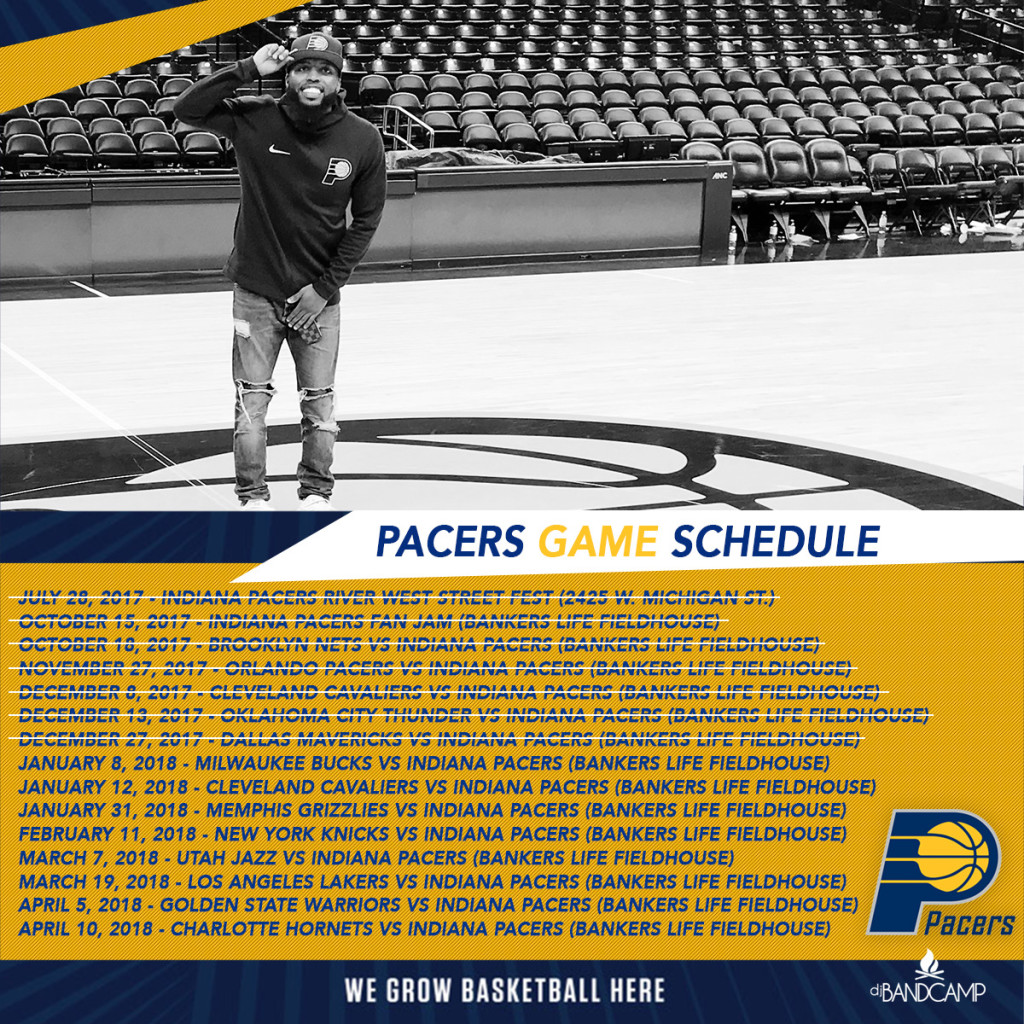 DJ Bandcamp Pacers Schedule 2017-2018 (Dates Crossed Out)